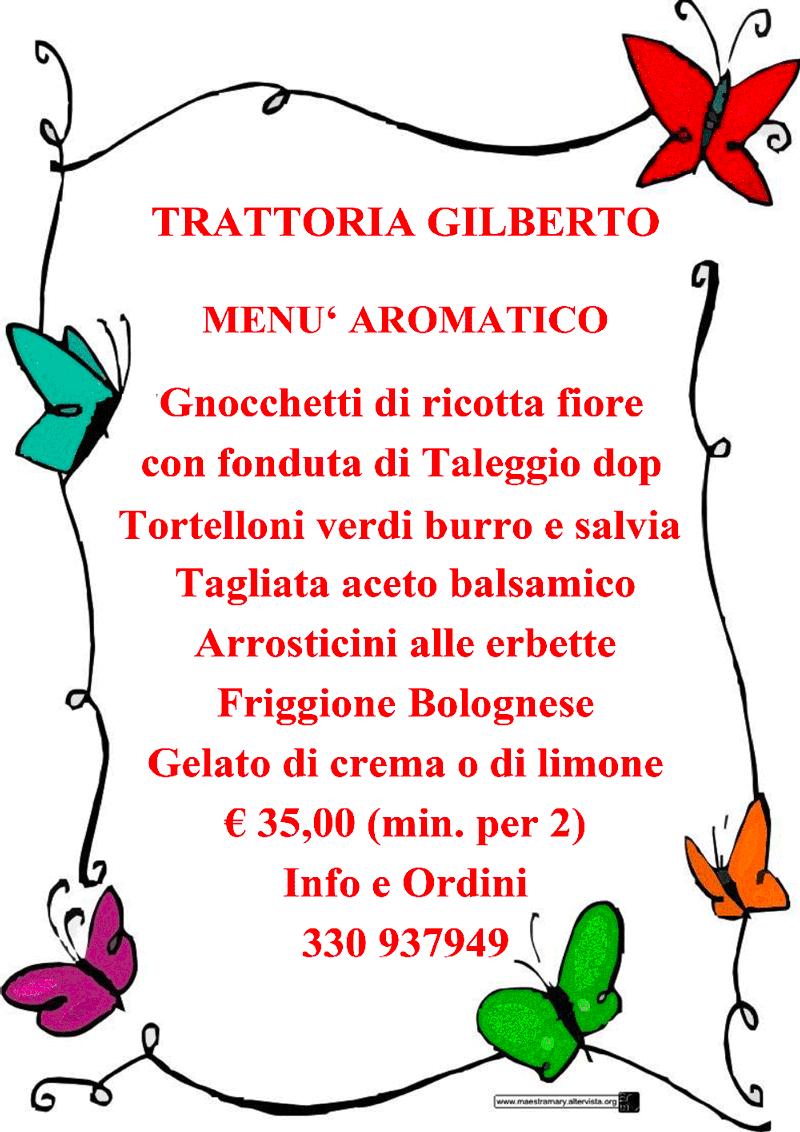 menu aromatico trattoria gilberto bologna