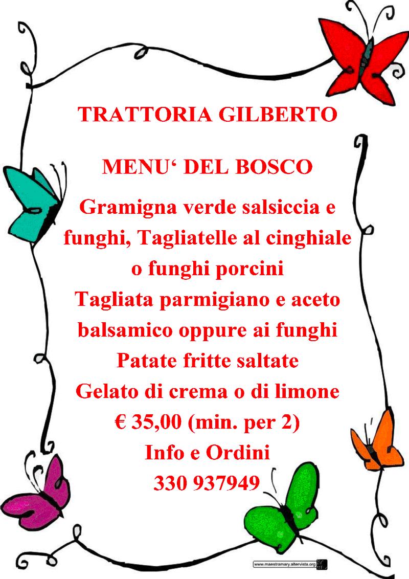 menu del bosco trattoria gilberto bologna