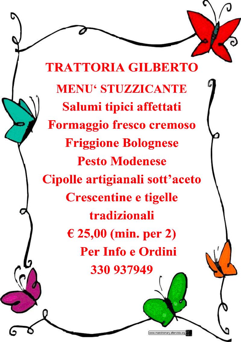 menu stuzzicante trattoria gilberto bologna